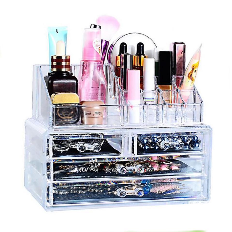 37abd730a Compre Almacenamiento De Maquillaje Organizador De Maquillaje Transparente  Caja De Almacenamiento Productos De Acrílico Organizador Maquillaje Cajones  ...