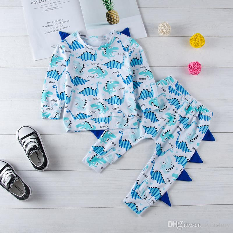 52aa4892d 2019 Infant Baby Boys Dinosaur Clothes Top Pants Set Outfits Animal Long  Sleeve Kd Baby Boys Sport Casual Toddler Clothes Kid Clothing From  Tyfactory, ...