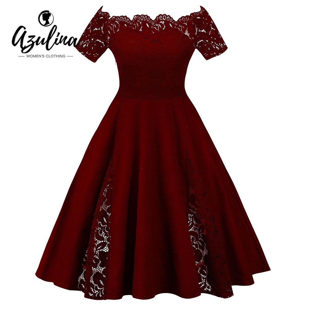 2019 AZULINA Plus Size Lace Panel Off The Shoulder Dress Women Vintage  Flare Party Dress Robes 2018 Retro Ladies Dresses Vestidos 5XL From Candd afcc3e980a73