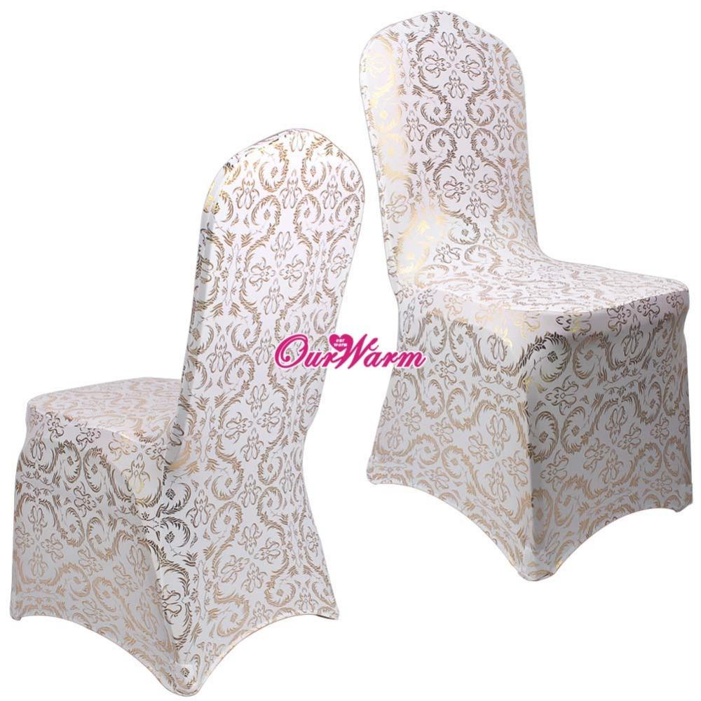 Astonishing 6Pcs Lot Spandex Chair Covers For Weddings Dining Chair Cover Bronzing Gold Printed Banquet Party Chair Covers Home Textile Evergreenethics Interior Chair Design Evergreenethicsorg