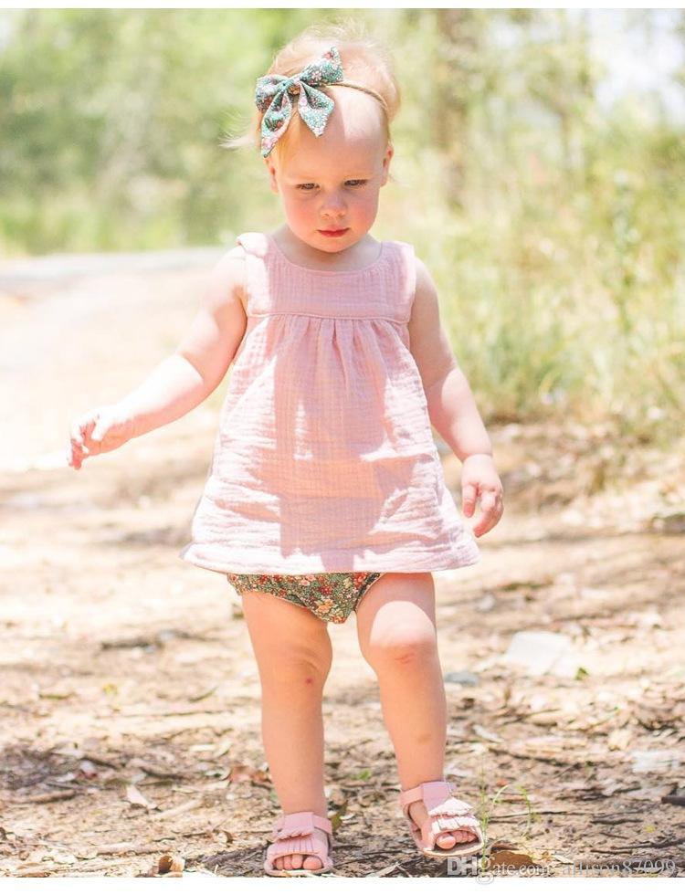 2018 INS Baby girl Tank Tops Cotton Linen European Kids clothes Hotsale Cheap Quality Wholesale 6M 9M 12M 2T 3T 4T