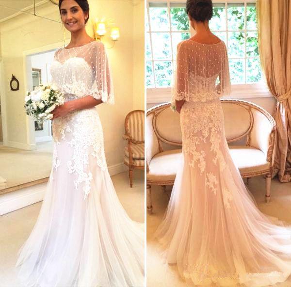 2ddd2dfdb5 Mermaid Wedding Dress With Shawl Dot Tulle Handmade Appliques Lace Sweep  Train Romantic 2018 Bridal Gowns Custom Made Strapless Lace Mermaid Wedding  Dress ...