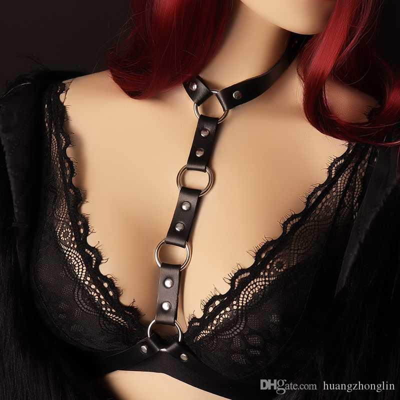 ec5188a1e7 Sexy Pastel Gothic Body Harness Black Leather Cage Bra Lingerie Bondage  Body Cage Leather Harness Garter Belt