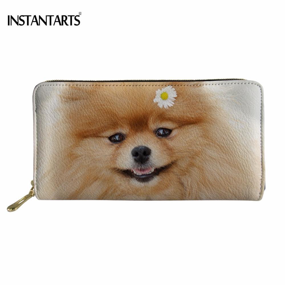 Instantarts Woman Long Pu Leather Wallet Funny Dog Puppy Pomeranian