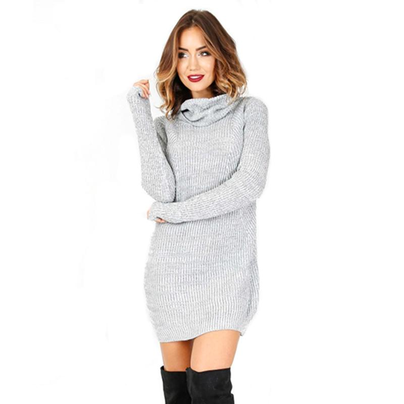 1ba5a7145a Autumn Winter Casual Women Knitted Turtleneck Full Regular Sexy A Line  Solid Sweater Mini Dresses Casual Dress AQ956806 Teens Party Dresses  Juniors Cocktail ...