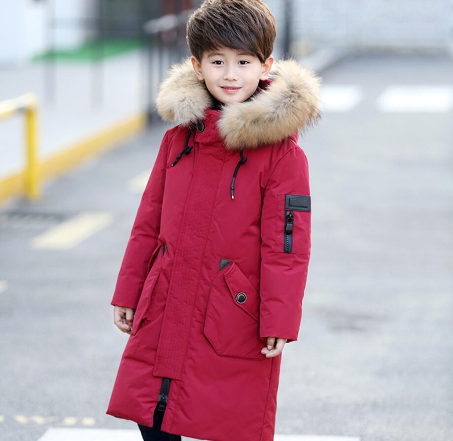 58aa5e3c9f1f 30Dgree Duck Down Children Winter Jacket Boy Winter Coat Kids Warm Thick Fur  Collar Hooded Long Down Coats For Teenage 4Y 12Y Add Coats For Kids Kids ...