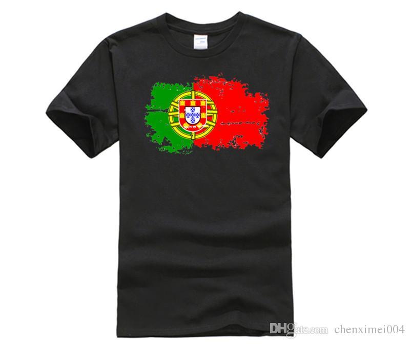 72709f1e0e Compre Bandeira De Portugal Nova Moda Camisetas Camisetas De Manga Curta  Reminiscência Portugal Bandeira Estilo De Fitness Camisetas Para Mulheres  De ...