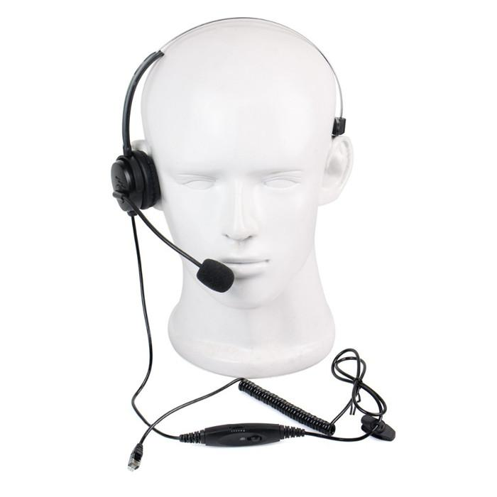 Call Center Monaural Headset Coiled Cable Rj9 Plug For Walkie