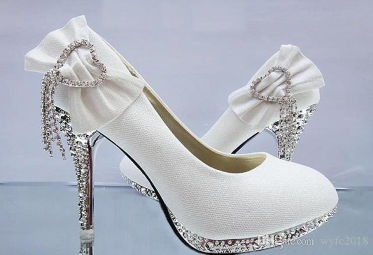 Women Pumps Wedding Shoes Woman Butterfly-knot Bridal Shoes Rhinestone Lace Ladies Shoes High Heels Platform Size 34-41