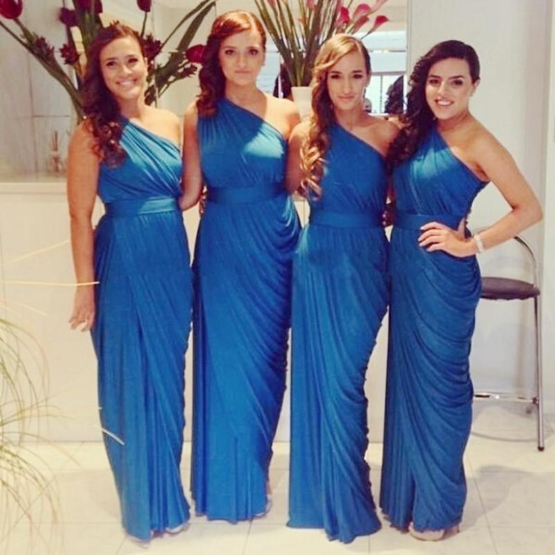 Cheap One Shoulder Bridesmaid Dress Navy Blue/Peach/Ivory/Champagne/Red/Silver/Yellow Chiffon Bridesmaid Dresses Free Shipping