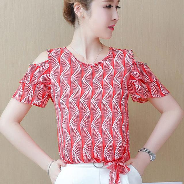 89105e41c865f7 2019 2018 Women Summer Tops Chiffon Blouses And Shirts Off Shoulde Ladies  Floral Print Blouse Short Sleeve Femme Tops Blusas Feminine From  Angelyanyan, ...