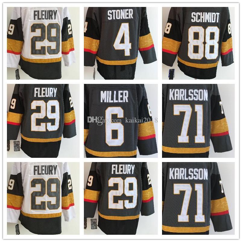 reputable site c014c 9be2f 2018 Men s Las Vegas Knights 29 Marc-Andre Fleury #88 Schmidt #71 Krrlsson  #6 Miller #4 Stoner White Black Grey Home Premier Hockey Jerseys