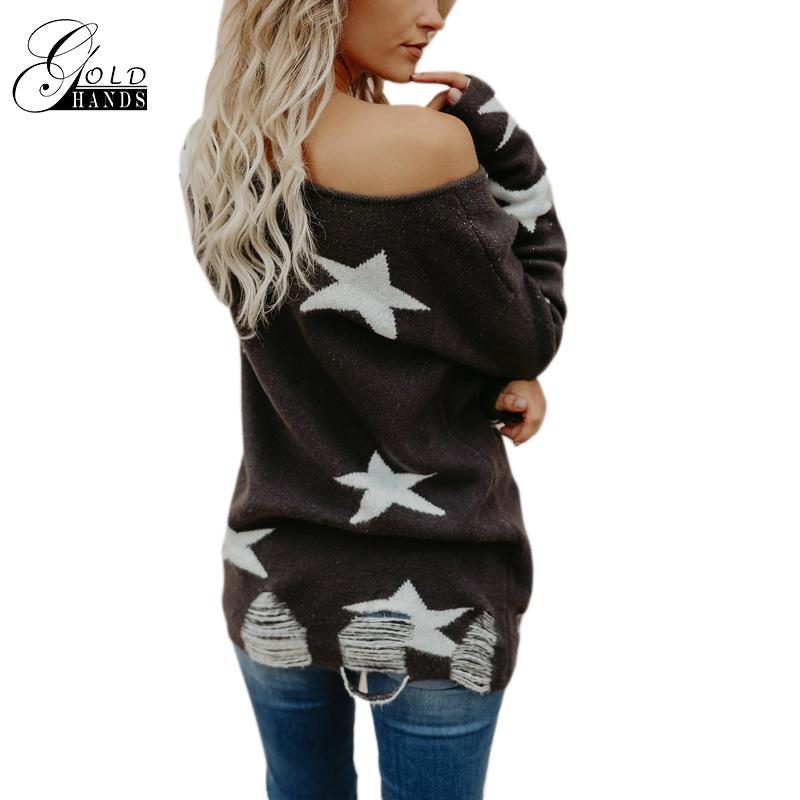 Gold Hands Star Tassel Hole Slash Neck winter Knitted Sweater Women Off Shoulder Loose Pullover Female Soft Autumn Casual Jumper