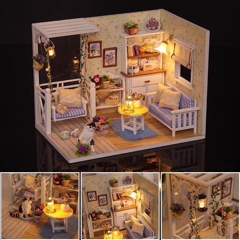 Großhandel Puppenhaus Miniatur DIY Puppenhaus Möbel Zubehör LED 3D Holzhaus  Modell Für Puppen Spielzeug Kunsthandwerk Geschenk H013  D Von Babymom b7faf64006