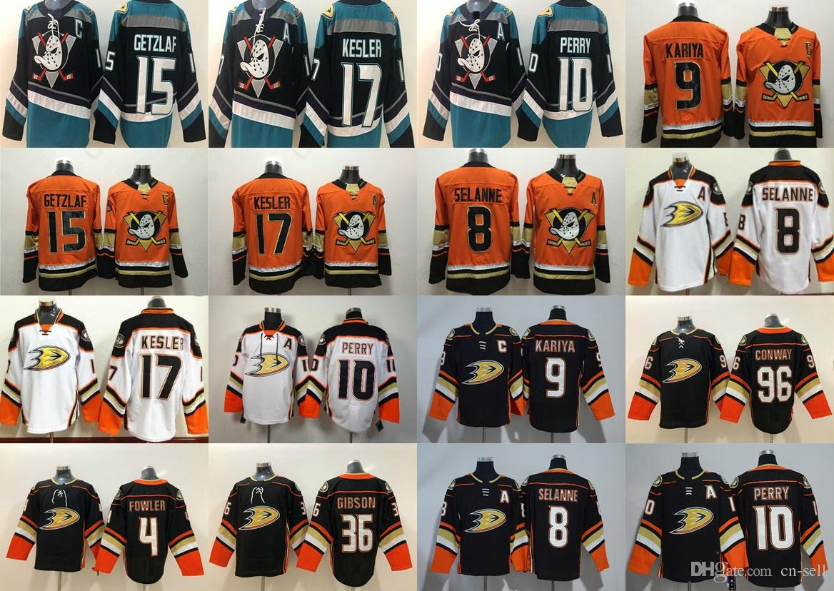 Third Anaheim Mighty Ducks Anaheim 9 Paul Kariya 8 Teemu Selanne 10 Corey  Perry 15 Ryan Getzlaf 17 Ryan Kesler Conway Blank Hockey Jersey Mighty Ducks  of ... d5c86a3fb