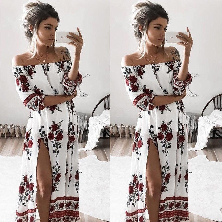 48626dddf541 2019 Sexy Womens Maxi Boho Floral Summer Beach Long Skirt Evening Cocktail  Party Dress From Augusss