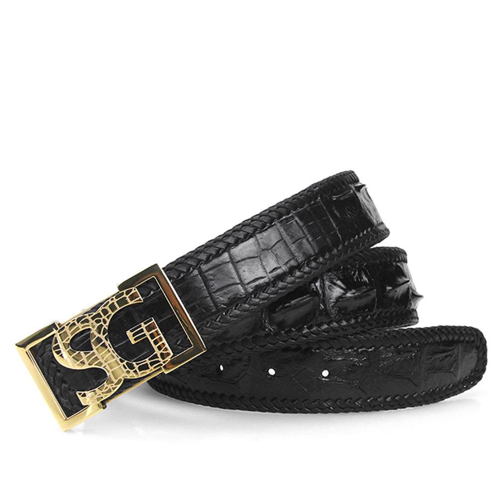 Compre Cinturones De Piel De Cocodrilo Para Hombre De Lujo Cinturón De  Cuero Tejido De Moda Importado Cocodrilo Negro Estilo De Negocios Oro Plata  Acero ... 4a2208526054