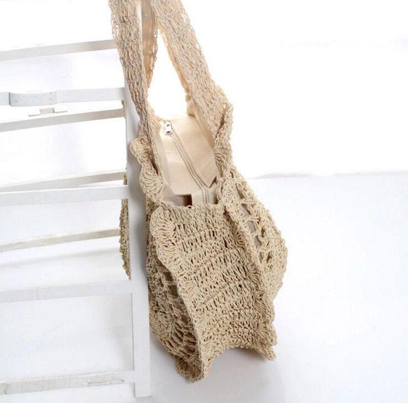 2018 bohemio bolsos de paja para las mujeres del círculo de la playa bolsos de verano bolso hecho a mano Kintted bolsas de hombro