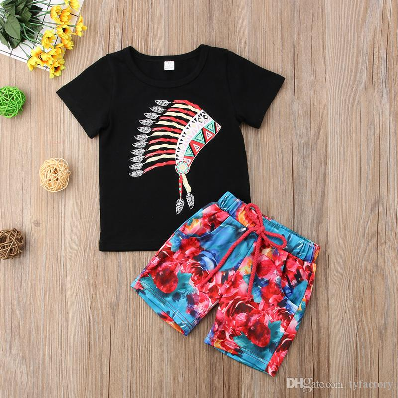 Feather Crown Baby Boys Clothing T-shirt + Multicolors Shorts Two-piece set Boy Clothes Outfit Casual Children Suit 0-3Y for baby Boutique