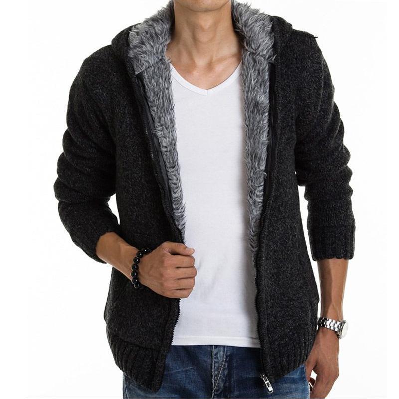 2017 New Arrival Warm Thick Velvet Cardigan Sweater Men's Winter Jacket Men Hooded Loose Sweater Five Kinds Color