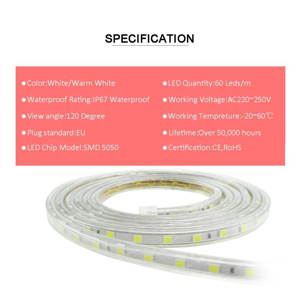 SMD 5050 светодиодные полосы 220 В переменного тока с выключателем 60 светодиодов / м силиконовая трубка IP67 водонепроницаемый гибкие светодиодные полосы света ленты теплый белый да