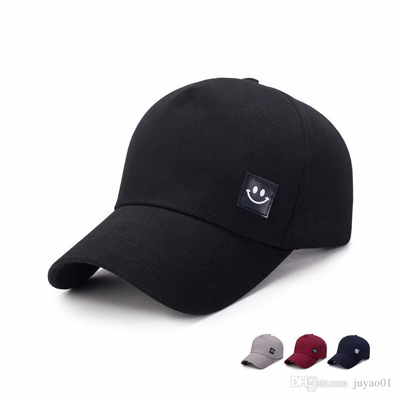 Spring New Simple Baseball Cap Men s Casual Smile Snapback Solid ... 85fe1e39c006