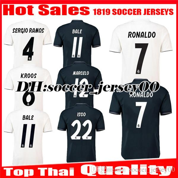 3be6416d5 2018 2019 Real Madrid Home Soccer Jersey 1819 RONALDO BENZEMA BALE ...