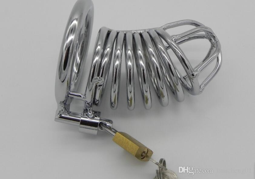 Castità maschile Castità Gabbie in acciaio inox Bondage Fetish SM Sex Toys Dispositivo gabbia arte con blocco del pene di castità da DHL