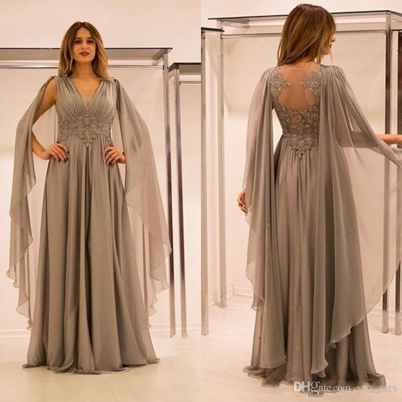 b5f762fead3 2018 New Mother Of The Bride Dresses V Neck Lace Appliques Beaded With Cape  Silver Chiffon Plus Size Party Dress Formal Evening Gowns Quinceanera Mother  ...