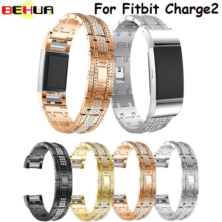 Watchbands Charge 2 Replacement Metal Bands Watch Strap Rose Gold Black Color Rhinestone Bling Watch Band For Fitbit Charge2