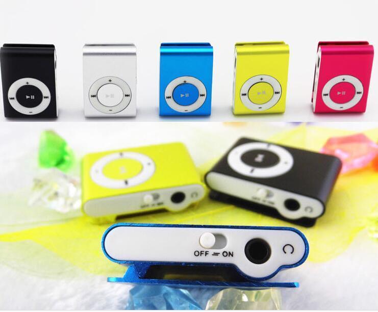 Mini Klip MP3 Çalar Toptan Ucuz Spor Stil Metal MP3 Çalarlar Perakende Kutusu ile Ekran olmadan Ekran Kulaklık USB Kablosu - Hayır Mikro TF Kartları