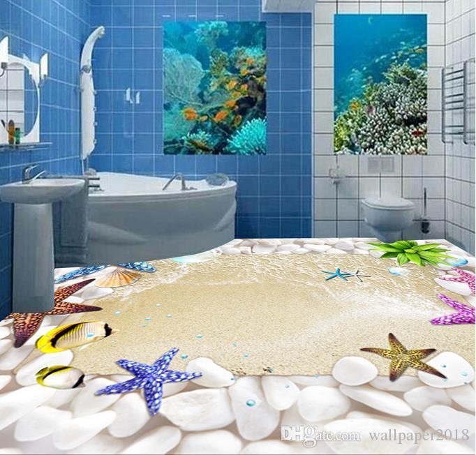 papel de parede impermeável do PVC da pintura decorativa do assoalho da praia de Shell do papel de parede do PVC para o assoalho