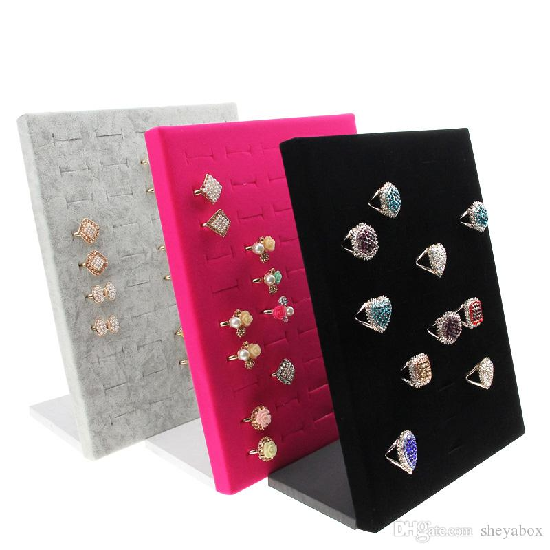 Jewelry Ring Display Stand Wooden Velvet Jewellery Displays for Counter Showcase Tabletop Rings Stud Earrings Prop Holding up to 50 Rings