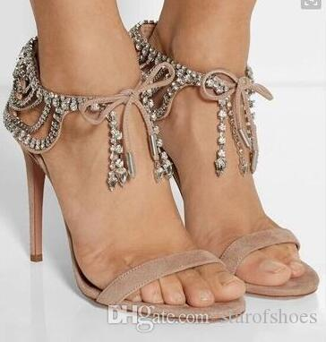 31dd4ec78 2018 Women Diamonds Sandals Lace Up Gladiator Sandals Rhinestone Women Shoes  Open Toe High Heels Women Wedding Shoes Cute Shoes Leather Sandals From ...