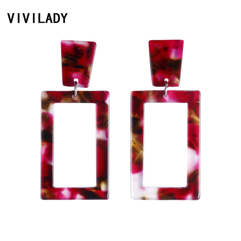 VIVILADY New Colorful Square Acrylic Dangle Earrings Women Geometric Brincos Bijoux Acetic Acid Jewelry Summer Party Gifts
