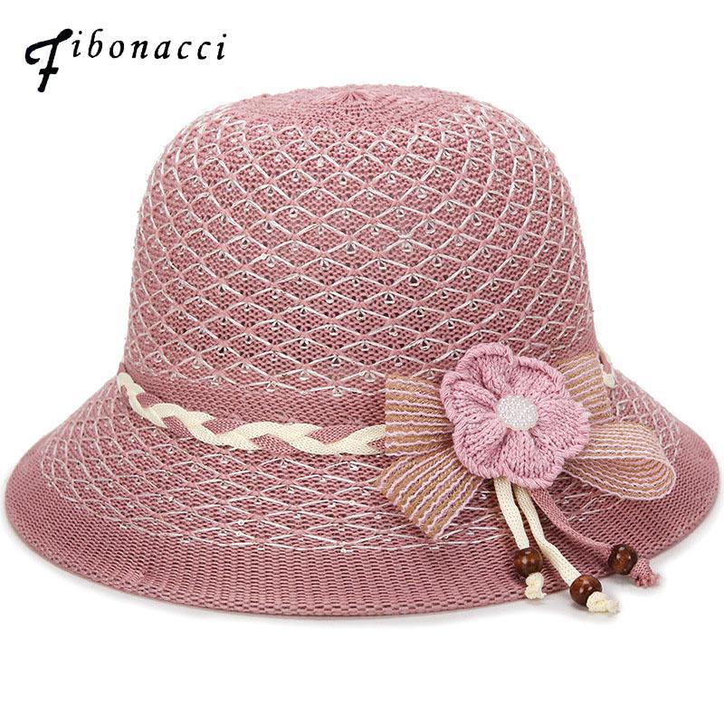 Fibonacci 2018 New Women Bucket Hat Cap Knitting Floral Dome Hollow Mesh  Mother Spring Summer Hats Funny Hats Hat World From Qiuyuezhong e3475c783dc