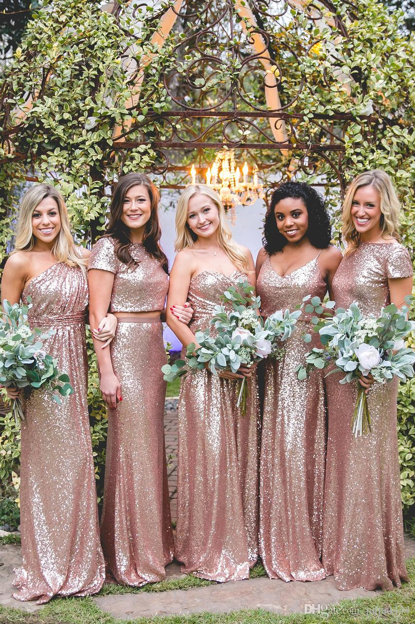 21127c9ea93 2019 Rose Gold Sparkling Bridesmaid Dresses Honor Of Maid Formal Gown For Wedding  Party Guest With Sequins Lace Burgundy Navy Dusty Rose Bridesmaid Dresses  ...