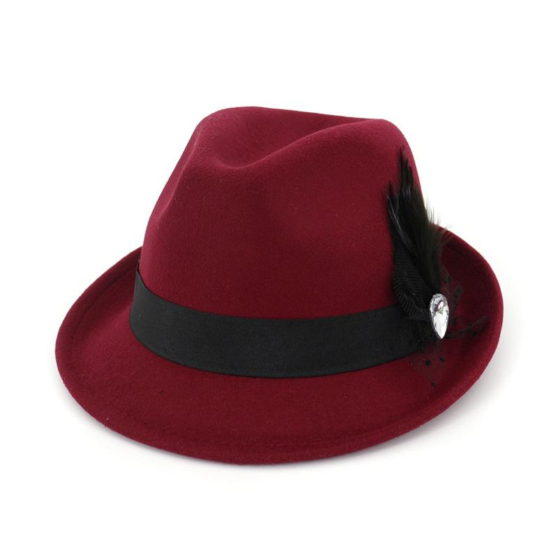 d8f32f2fef9 Women Wool Felt Roll Up Short Brim Homburg Fedora Hats with Feather Ribbon  Fashion Ladies Jazz Cap Sombrero Trilby Hat Online with  9.29 Piece on ...