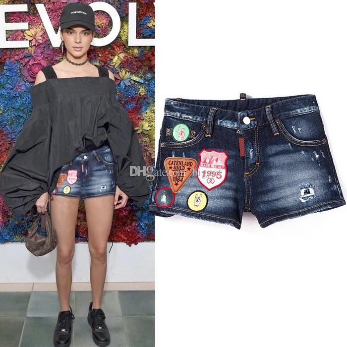220c8b7778 2019 Women Denim Shorts Cool Girl Multi Embroidery Patches Distressed  Bleach Wash Fashion Short Jeans Summer Hot Shorts From Bigget, $45.23 |  DHgate.Com