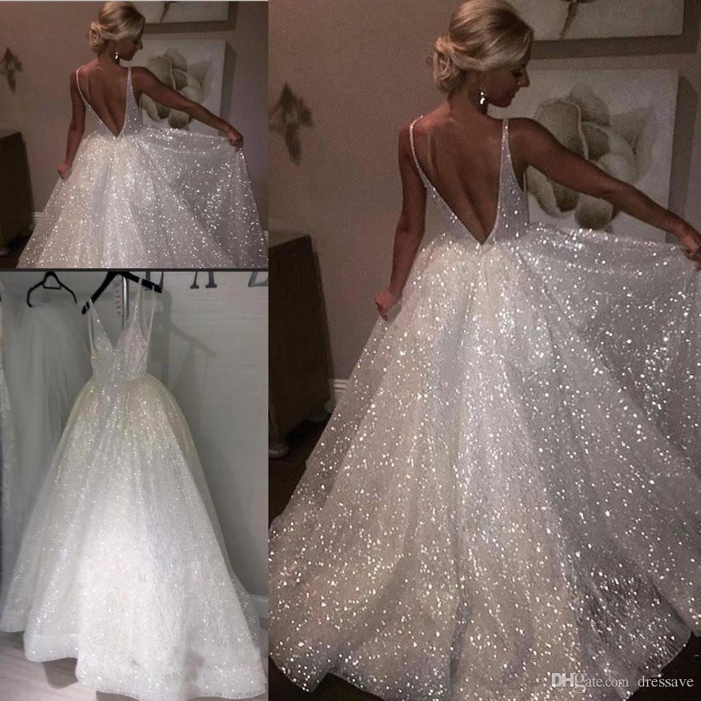 Wedding Dress White Glitter: Sparkle Sequined White Long Prom Dresses 2019 Deep V Neck