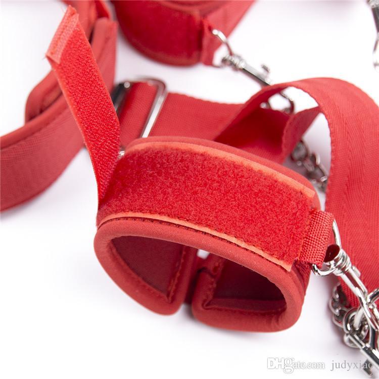 성인 게임 여자 슬레이브 손목 목 연결 손 고정 장치, 뒤쪽 커프스 BDSM 본디지 가제트 입가닥 성인 섹스 토이