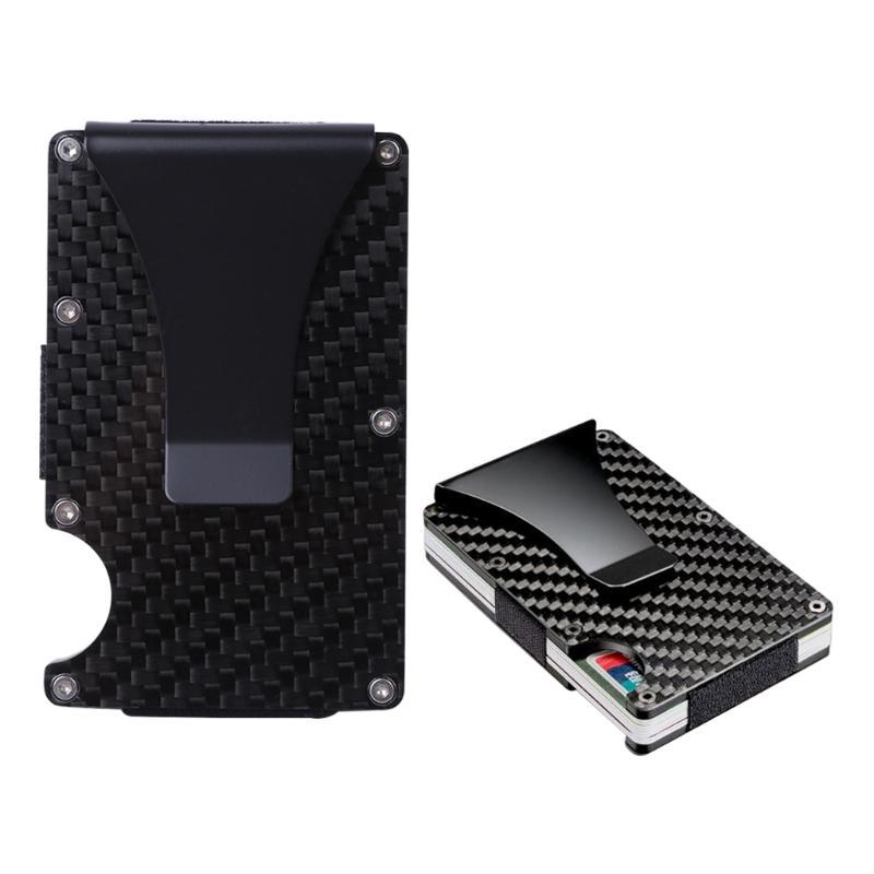 Slim Carbon Fiber Credit Card Holder RFID Blocking Metal Wallet ...