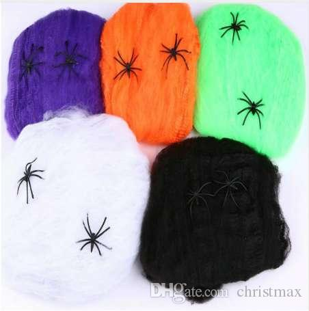 Colorful Stretchy Spider Web Cobweb With Spider for Bar Haunted House Arranged Decor Halloween Party Decoration