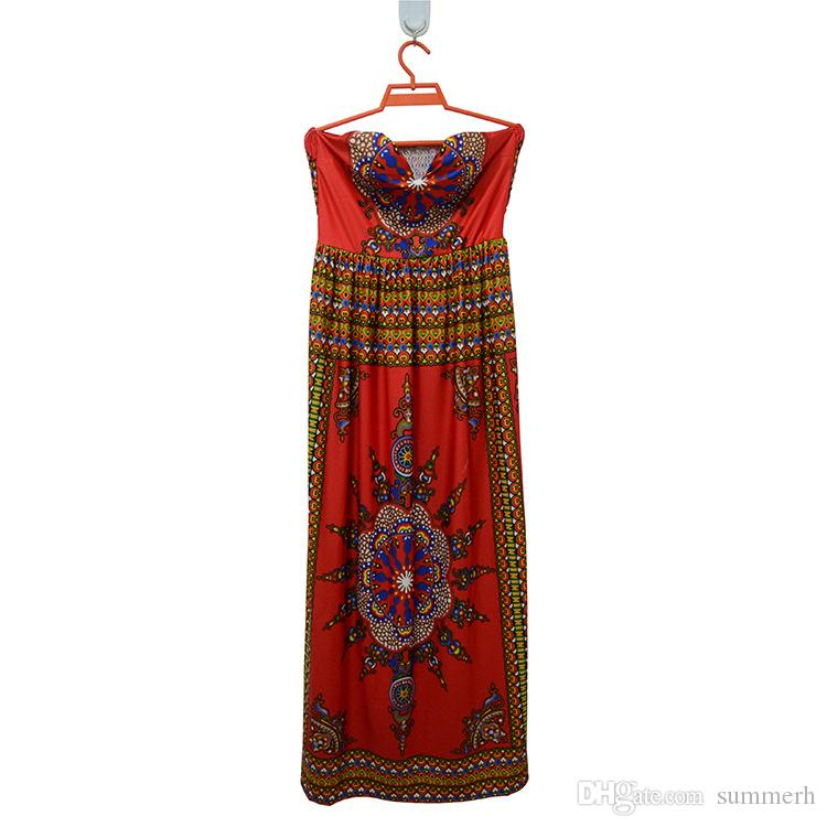 Traditional African Print Dashiki High Waist Ankara Floral Long Skirt A-Line Hippie Indian Style Pattern Asymmetrical Floor Length Skirts