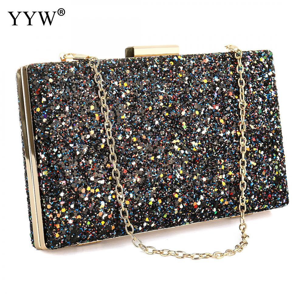 32a93efe5393 Solid Sequined Women Clutch Bag Evening Party Bag Female Handbag ...