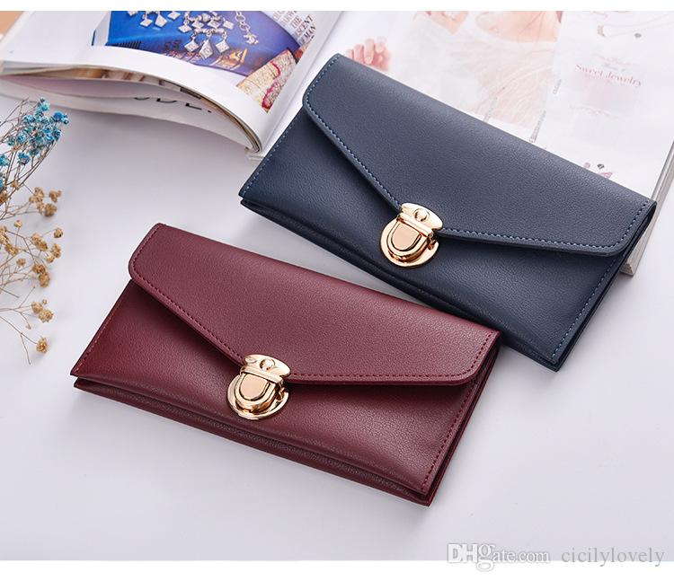 new Korean version female fashion lady and girl wallet cross section large-capacity women multi-color candy color long purse