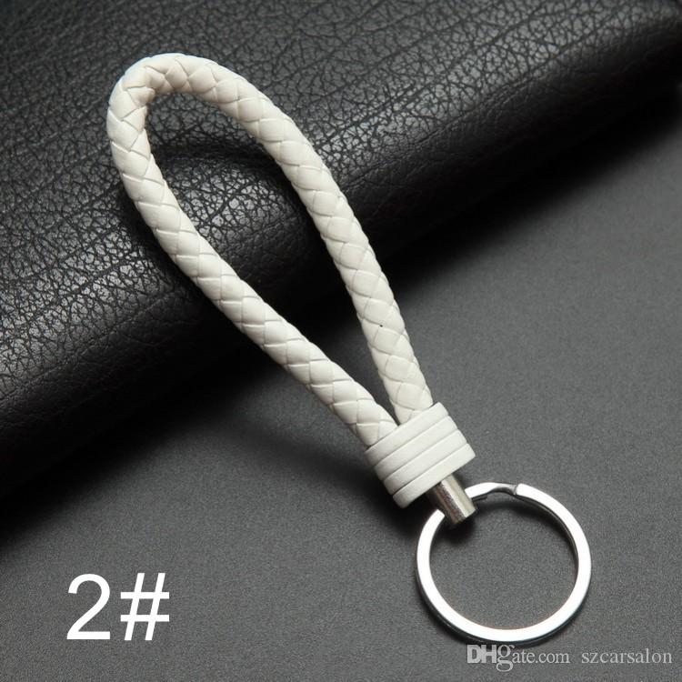 cell phone chain sling Lanyard Universal Hanging PU Leather Braided Woven Rope mobile phone chain keychain strap Noosa Trinket Rings Holder