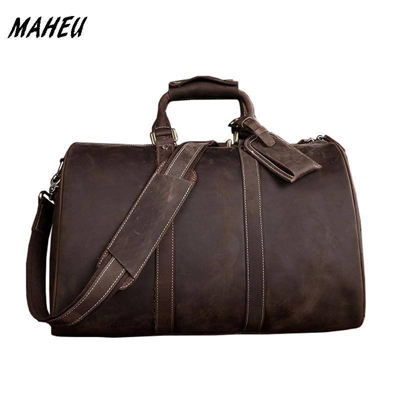 9be03de03748 High Quality Men Crazy Horse Weekend Bag Cowhide Genuine Leather ...