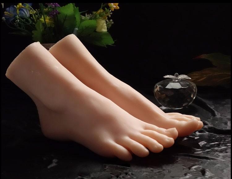Envío gratis 1 par realista de silicona de tamaño natural para mujer maniquí pie para zapatos y calcetines simulación pie maniquí