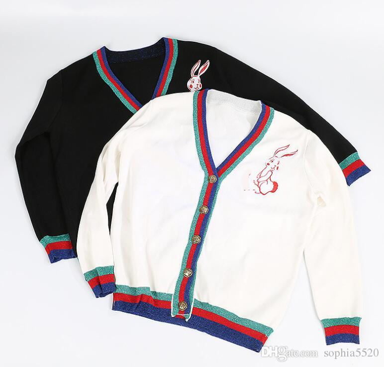 spring of 2018 women hit color V neck knitted cardigan little rabbit embroidery bright silk stripe short slim cardigan female sweater